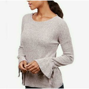Lucky Brand Ribbed Sweater Bell Sleeves Gray Large
